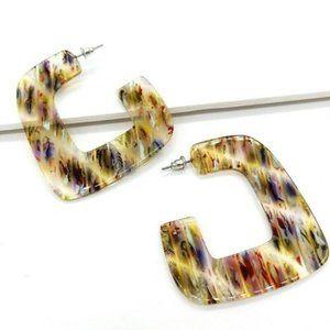 Lucite Resin C Hoop Earrings